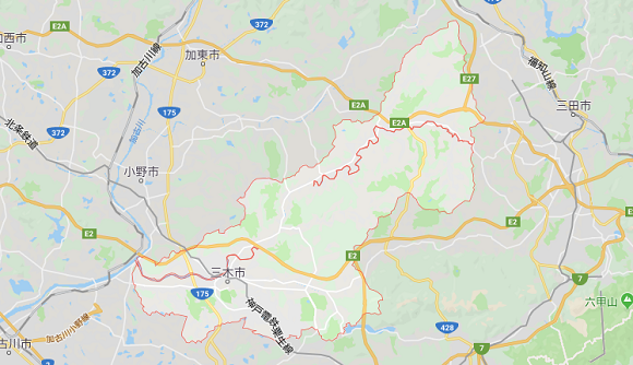 兵庫県三木市の地図