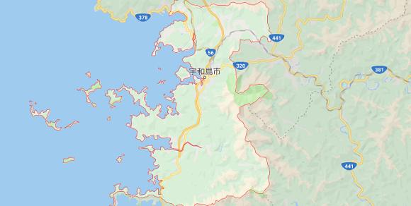 愛媛県宇和島市の地図