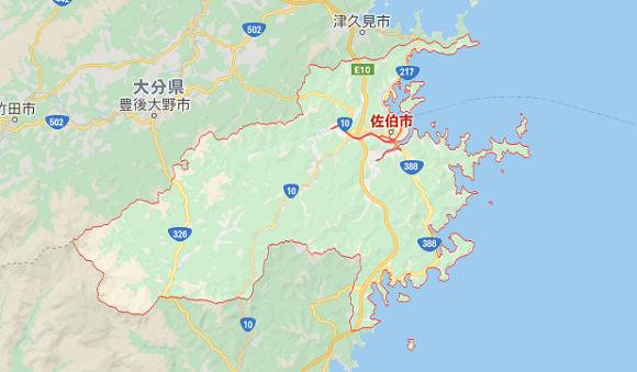 大分県佐伯市の地図