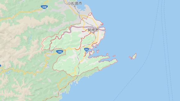 徳島県阿南市の地図