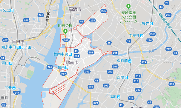 愛知県碧南市の地図