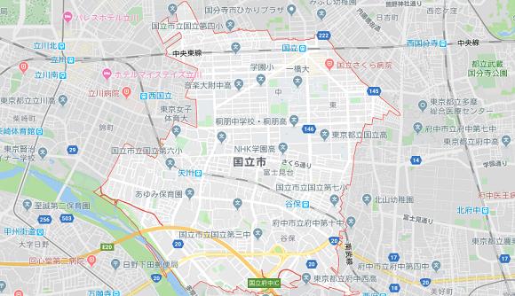 東京都国立市の地図