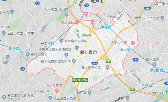 埼玉県鶴ヶ島市の地図