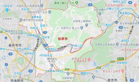 大阪府柏原市の地図