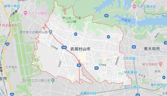 東京都武蔵村山市の地図