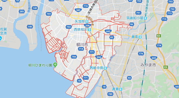 福岡県柳川市の地図