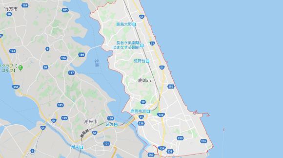茨城県鹿嶋市の地図