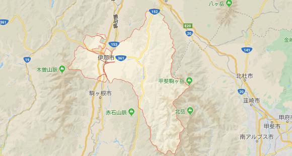 長野県伊那市の地図
