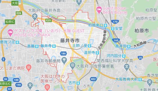 大阪府藤井寺市の地図