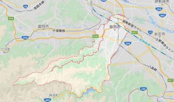 群馬県藤岡市の地図