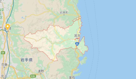 岩手県宮古市の地図