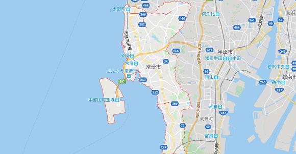 愛知県常滑市の地図