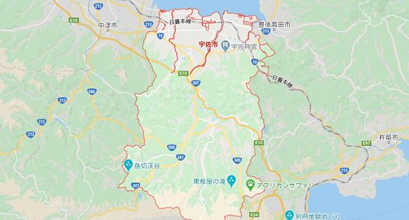 大分県宇佐市の地図