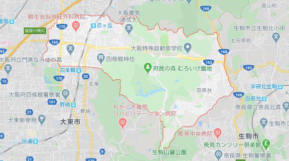 大阪府四条畷市の地図