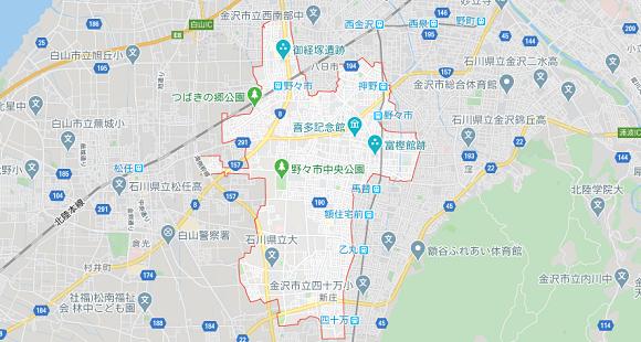 石川県野々市市の地図