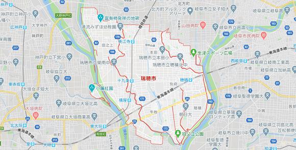 岐阜県瑞穂市の地図