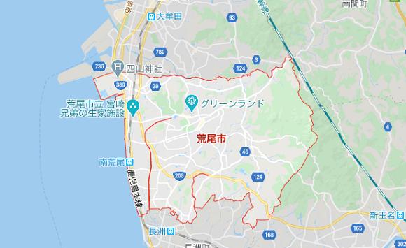 熊本県荒尾市の地図