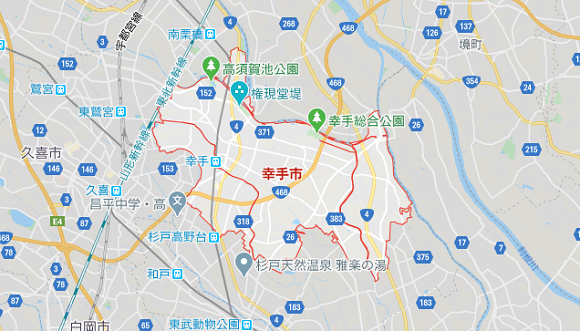 埼玉県幸手市の地図