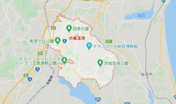 茨城県小美玉市の地図