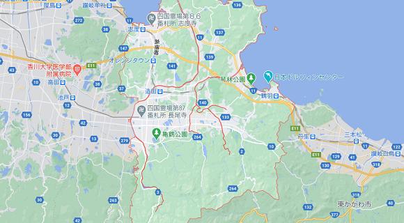 香川県さぬき市の地図