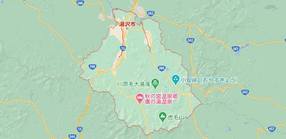 秋田県湯沢市の地図
