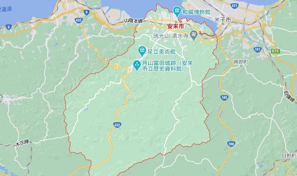 島根県安来市の地図