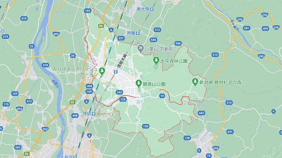 新潟県見附市の地図