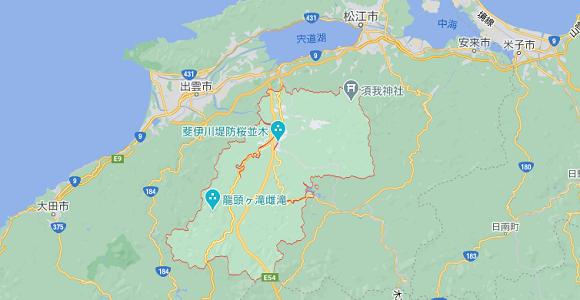 島根県雲南市の地図