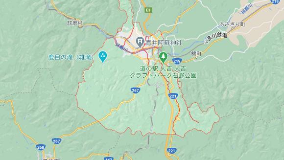 熊本県人吉市の地図