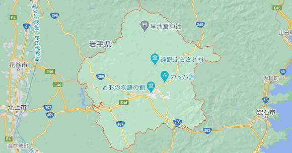 岩手県遠野市の地図