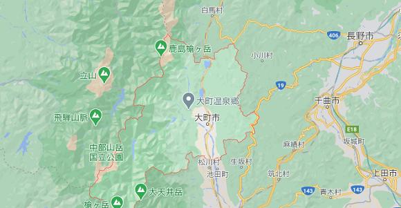 長野県大町市の地図