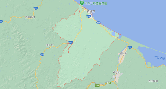 北海道紋別市の地図