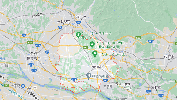 群馬県太田市の地図