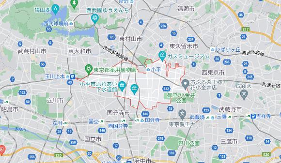 東京都小平市の地図