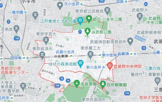 東京都小金井市の地図