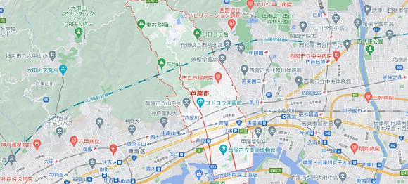 兵庫県芦屋市の地図