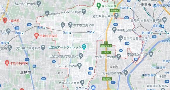 愛知県あま市の地図