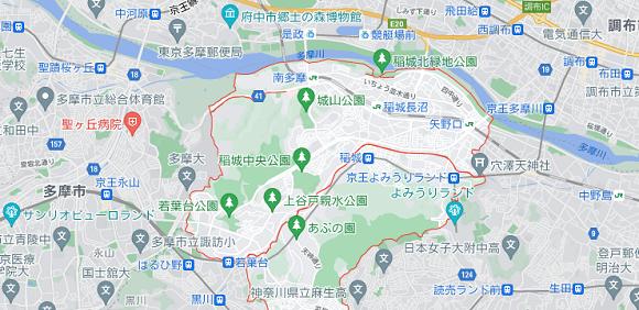 東京都稲城市の地図