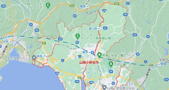 山口県山陽小野田市の地図