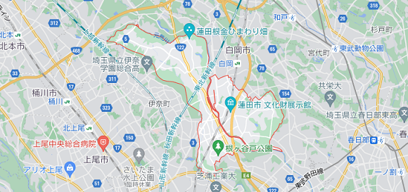 埼玉県蓮田市の地図